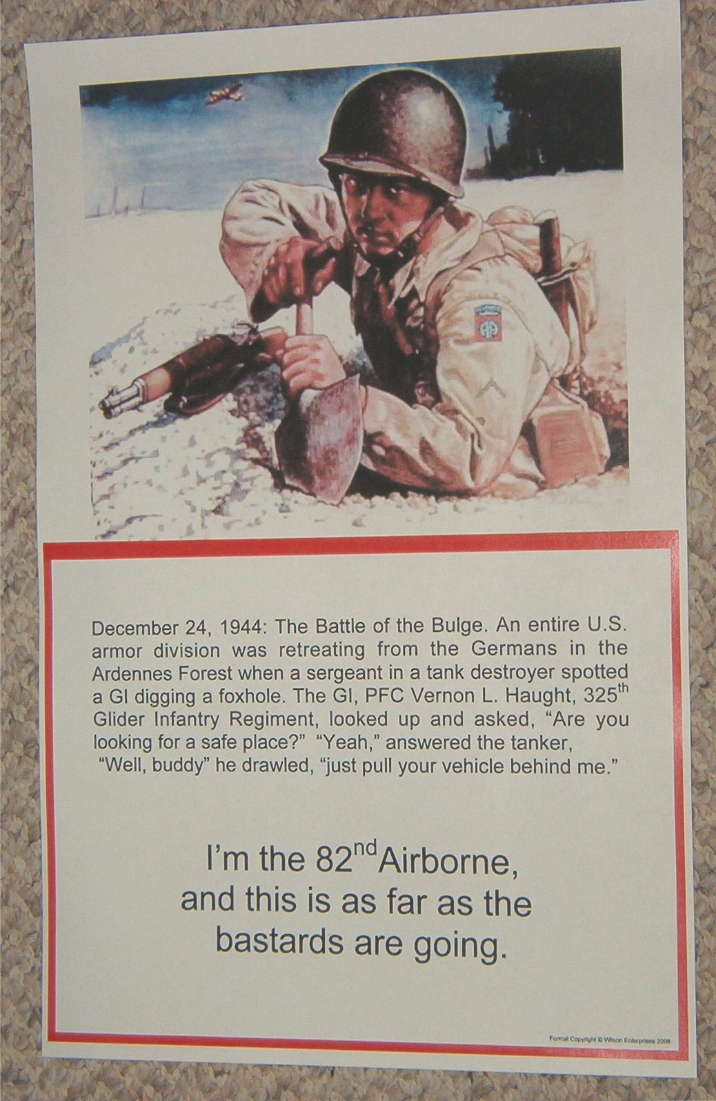 poster 82nd airborne foxhole  u0026quot this is as far as the